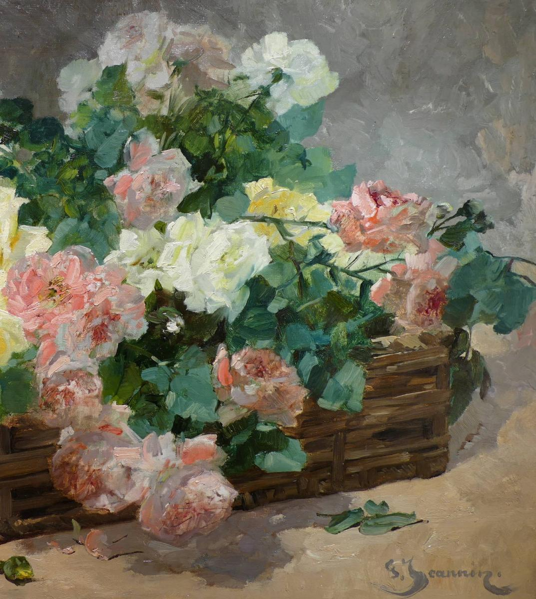 Jeannin Georges French Painting 19th Century Basket Of Roses Oil On Canvas Signed-photo-4