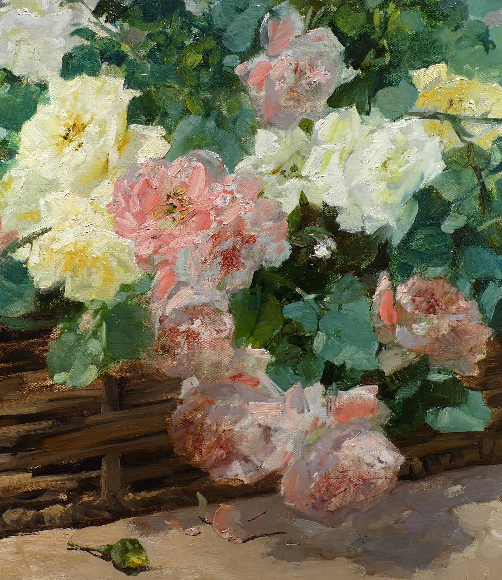 Jeannin Georges French Painting 19th Century Basket Of Roses Oil On Canvas Signed-photo-1