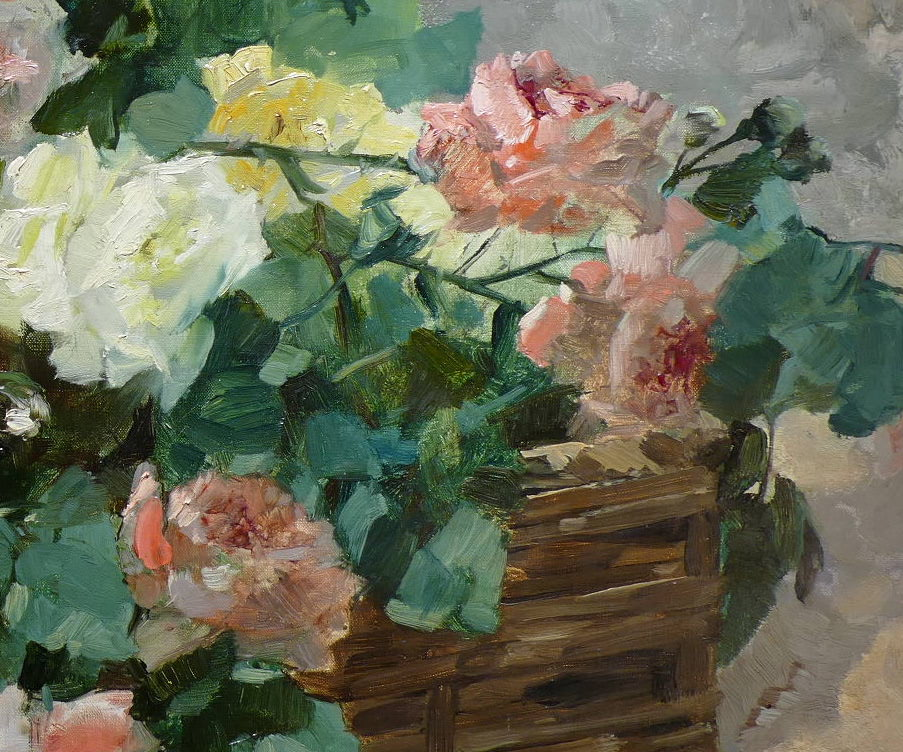 Jeannin Georges French Painting 19th Century Basket Of Roses Oil On Canvas Signed-photo-2