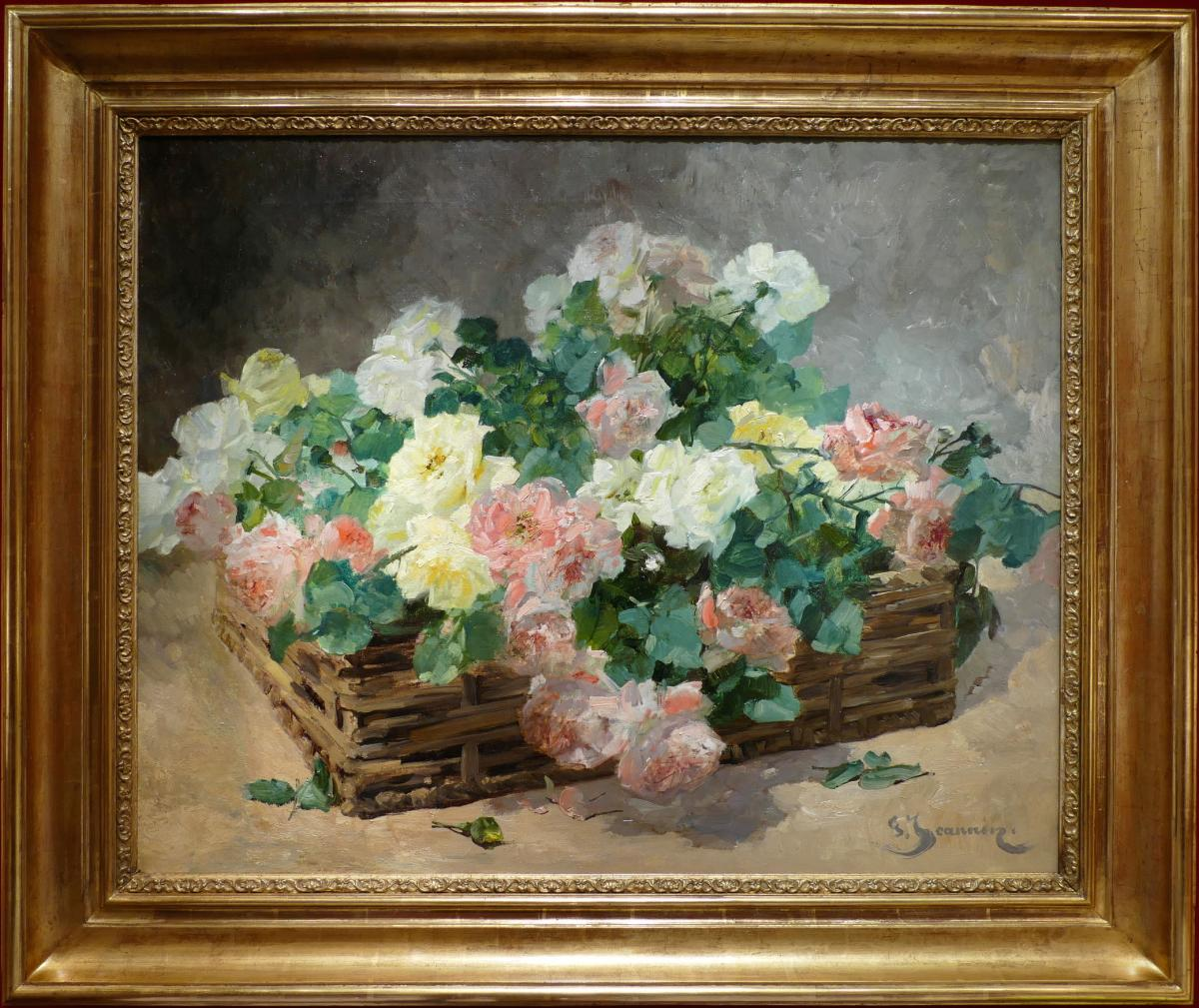 Jeannin Georges French Painting 19th Century Basket Of Roses Oil On Canvas Signed-photo-5