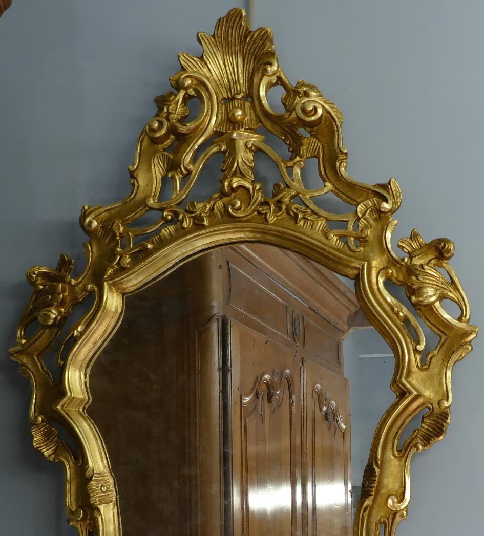 Miroir en bois sculpté doré de style Louis XV 19è siècle-photo-2