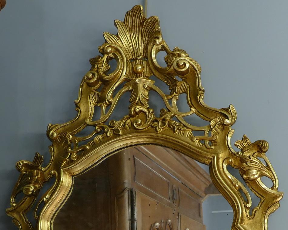 Miroir en bois sculpté doré de style Louis XV 19è siècle-photo-4