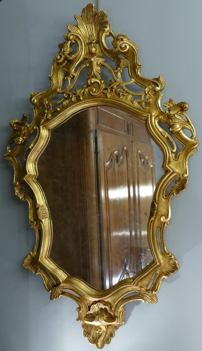 Miroir en bois sculpté doré de style Louis XV 19è siècle-photo-1