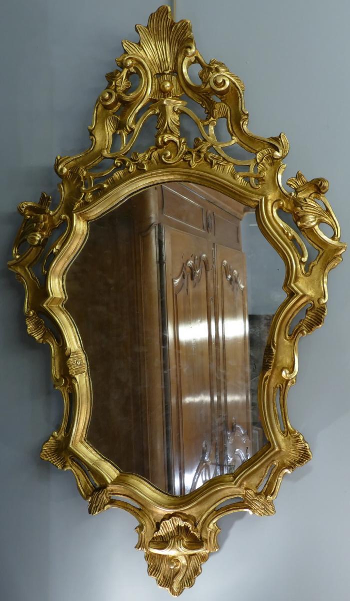 Miroir en bois sculpté doré de style Louis XV 19è siècle-photo-3