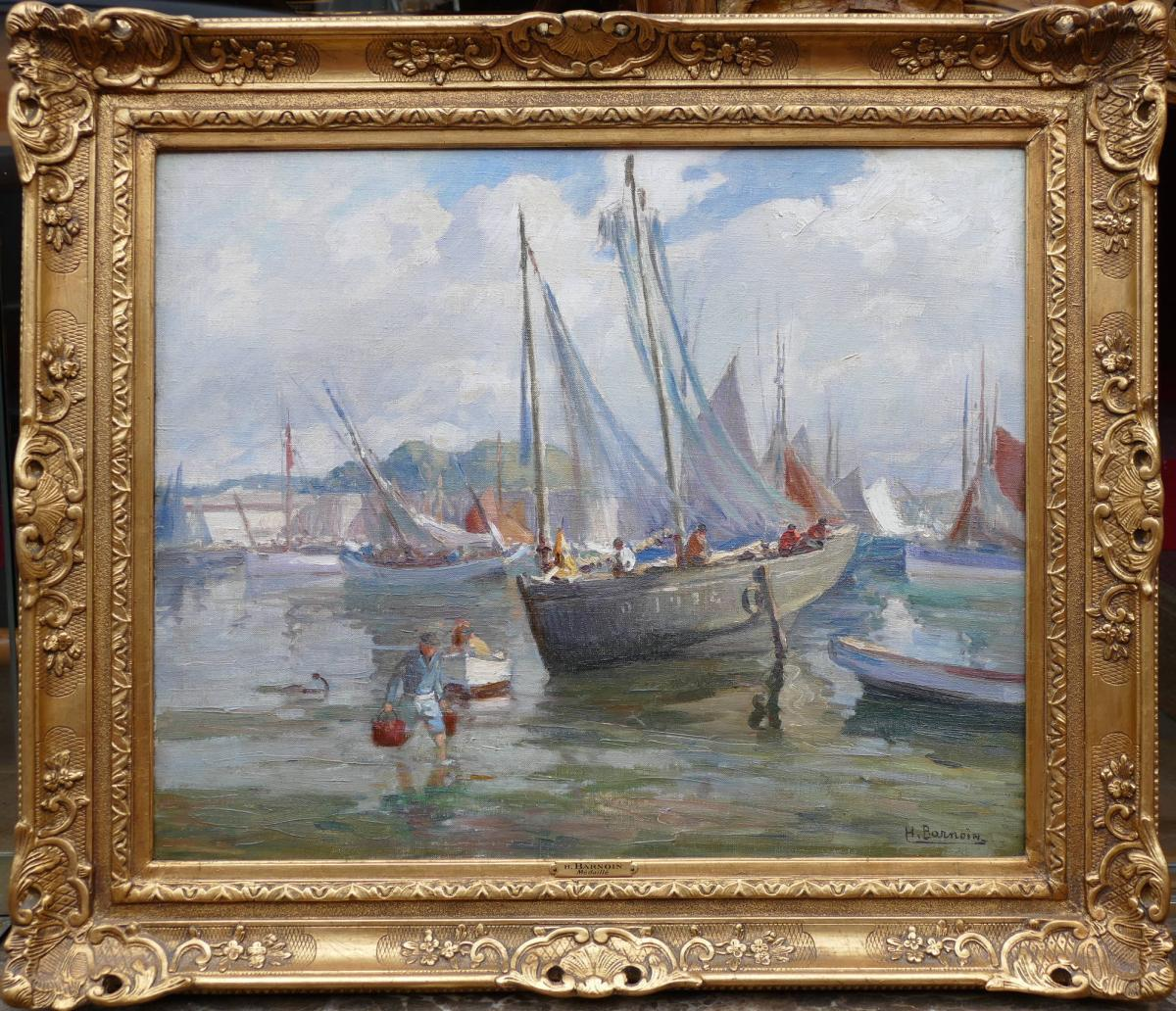 Barnoin Henri Tableau 20è Siècle Bretagne Port De Concarneau Huile Sur Toile Signée