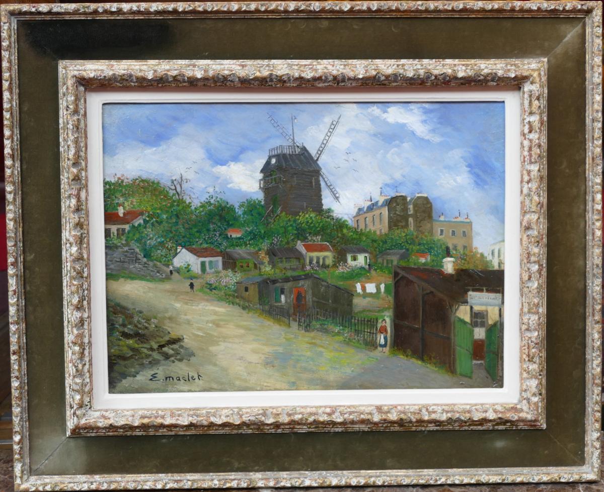 Elisée Maclet French Painting 20th Paris Montmartre Moulin De La Galette The Maquis Oil Signed