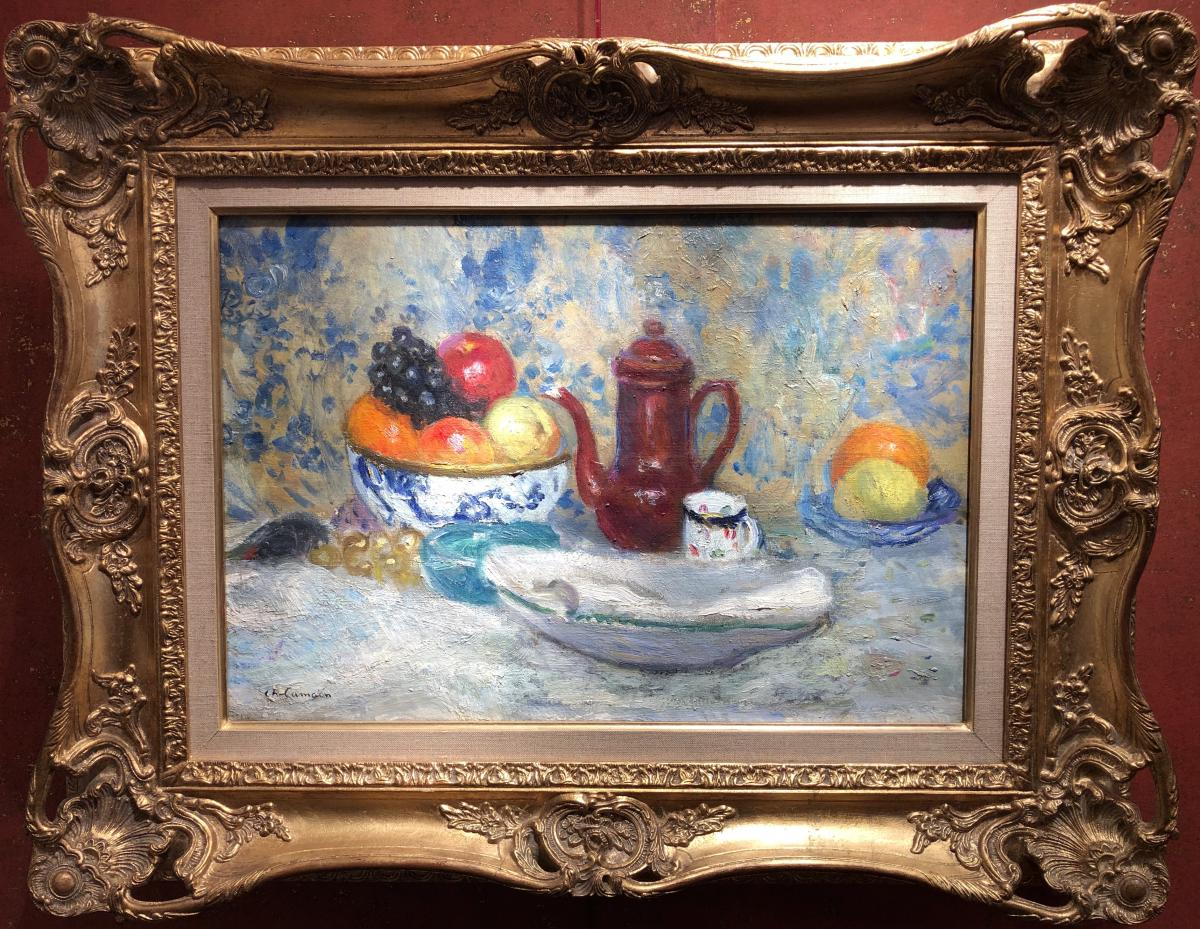 Camoin Charles French Painting Postimpressionist 20th Still Life Fruit Cup Oil Signed
