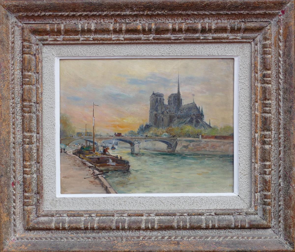 Madelain Gustave Tableau Impressionniste XXè Siècle Péniches Paris Huile Signée Au Dos