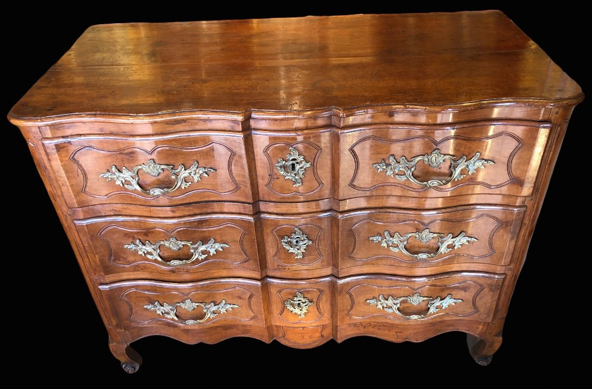 Provencal Arbalette Chest Of Drawers Last XVIIIth Century In Walnut-photo-3