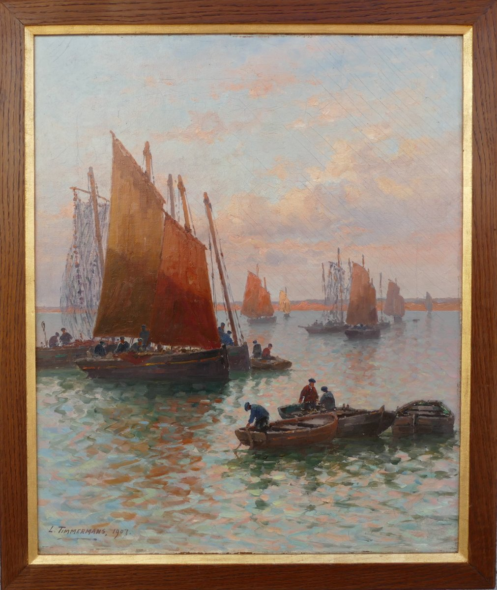 Timmermans Louis French School 19th Marine Sardinian Boats Oil On Canvas Signed Dated