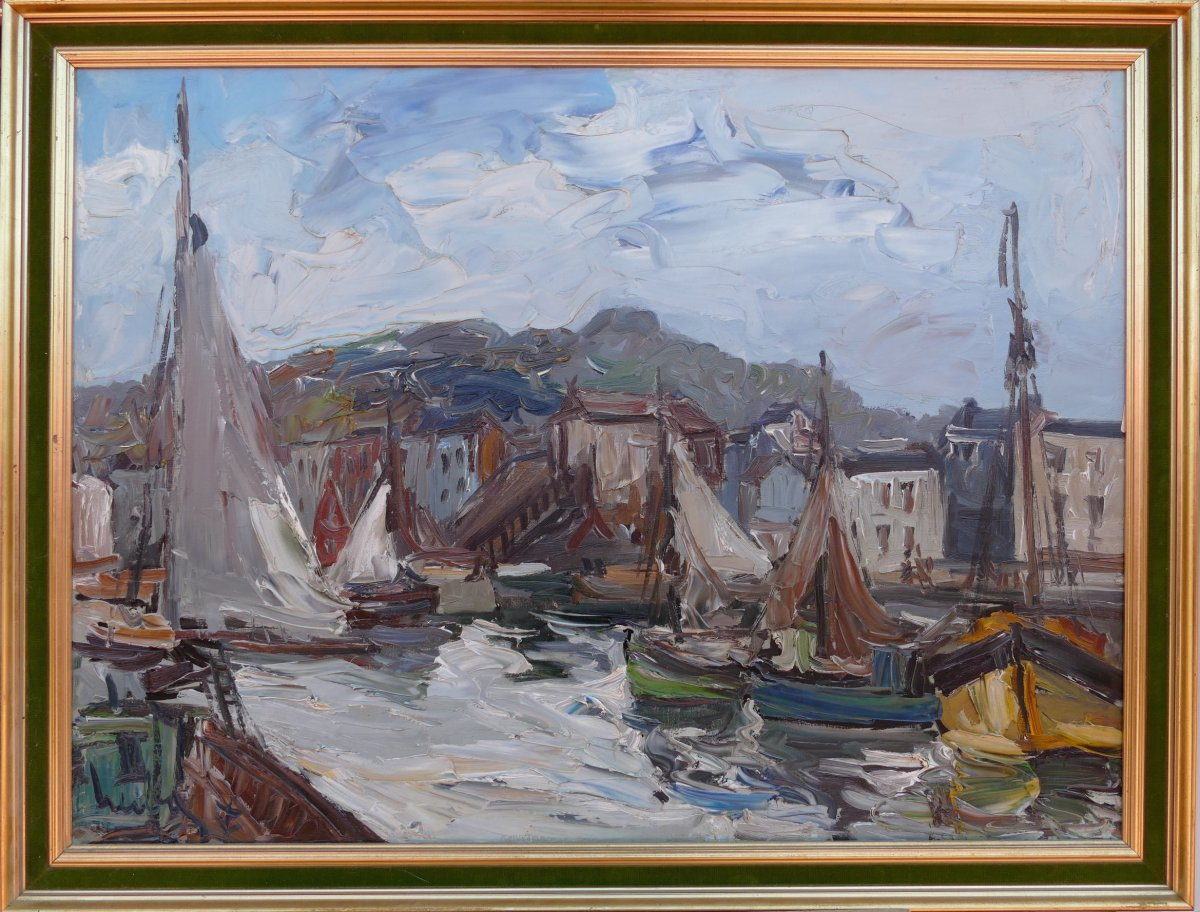 Herbo Fernand French Painting XXth Normandy Honfleur And Its Port Oil Canvas Signed