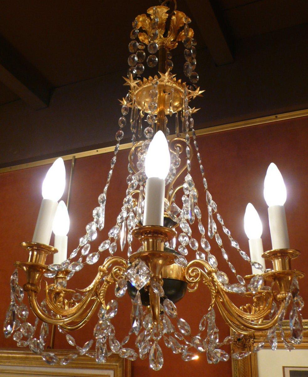 Lustre En Bronze Doré Et Bronze Patiné à Six Bras De Lumière