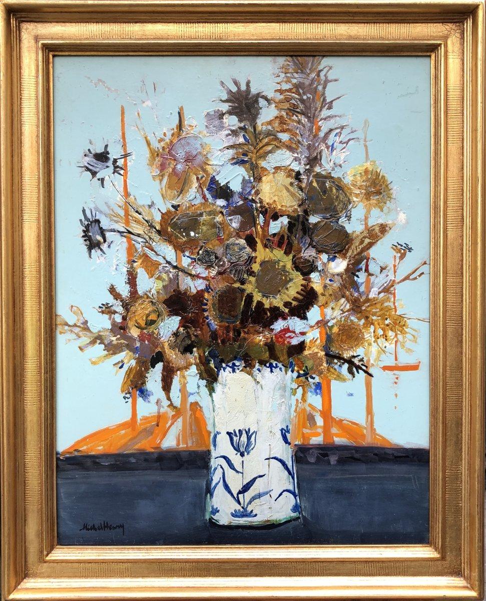 Michel Henry Peinture 20è Bouquet De Chardons d'Espagne 1959 Huile Sur Toile Signée