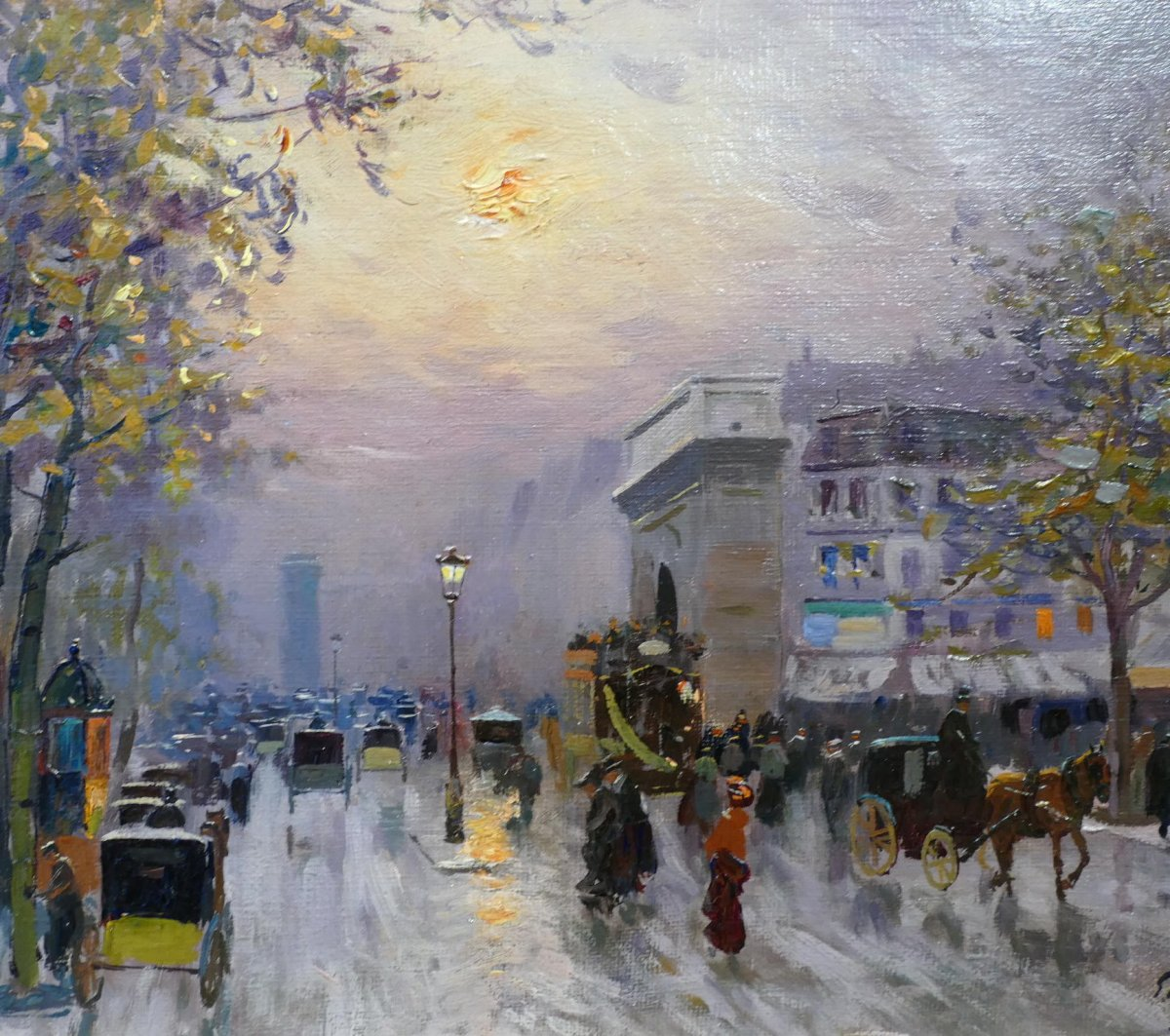 Pavil Elie Anatole Painting View Of Paris The Grands Boulevards Oil On Canvas Signed-photo-2