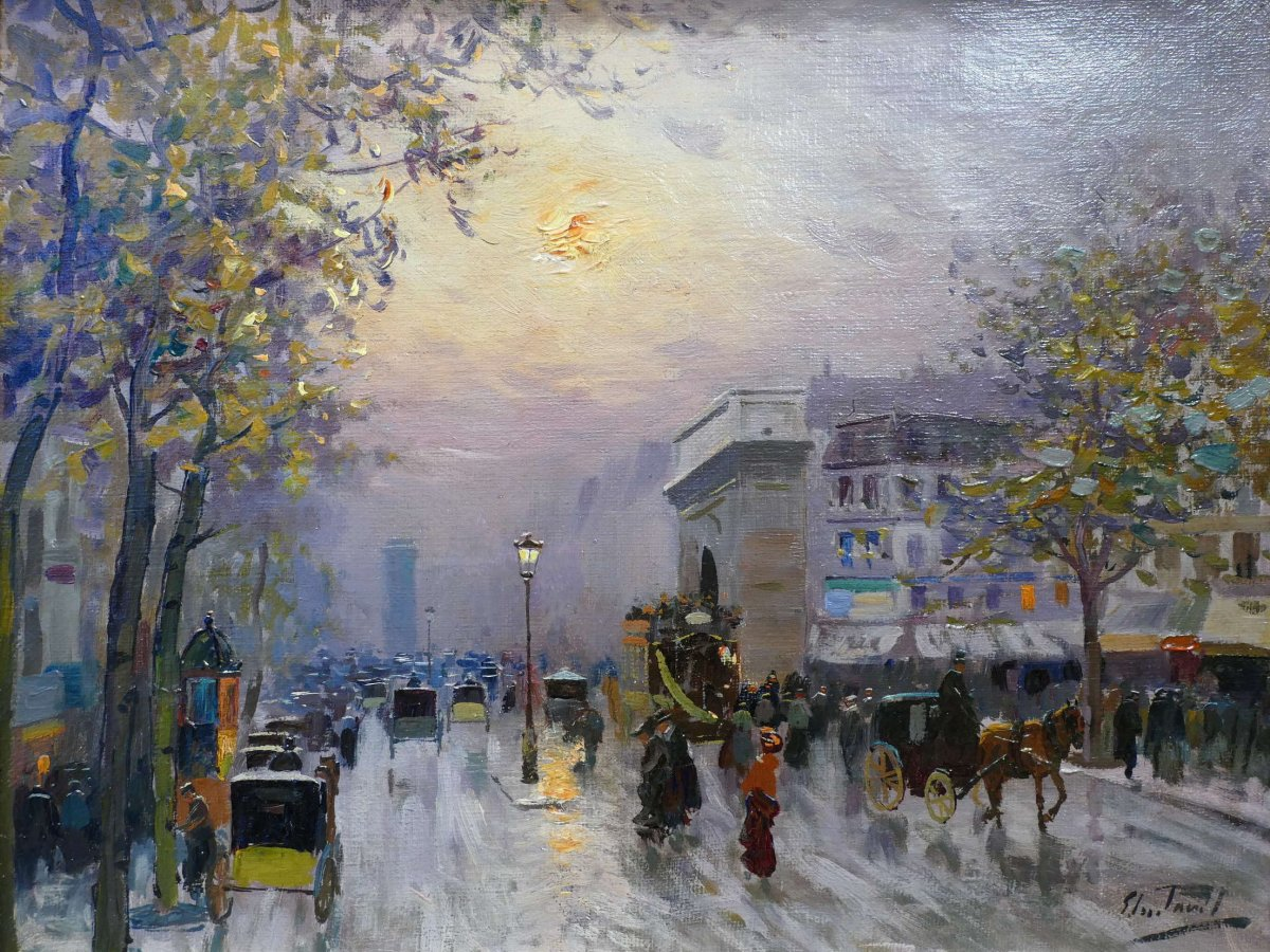 Pavil Elie Anatole Painting View Of Paris The Grands Boulevards Oil On Canvas Signed-photo-1