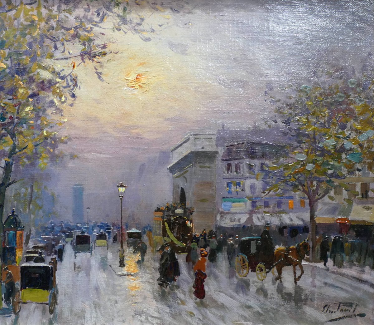 Pavil Elie Anatole Painting View Of Paris The Grands Boulevards Oil On Canvas Signed-photo-3