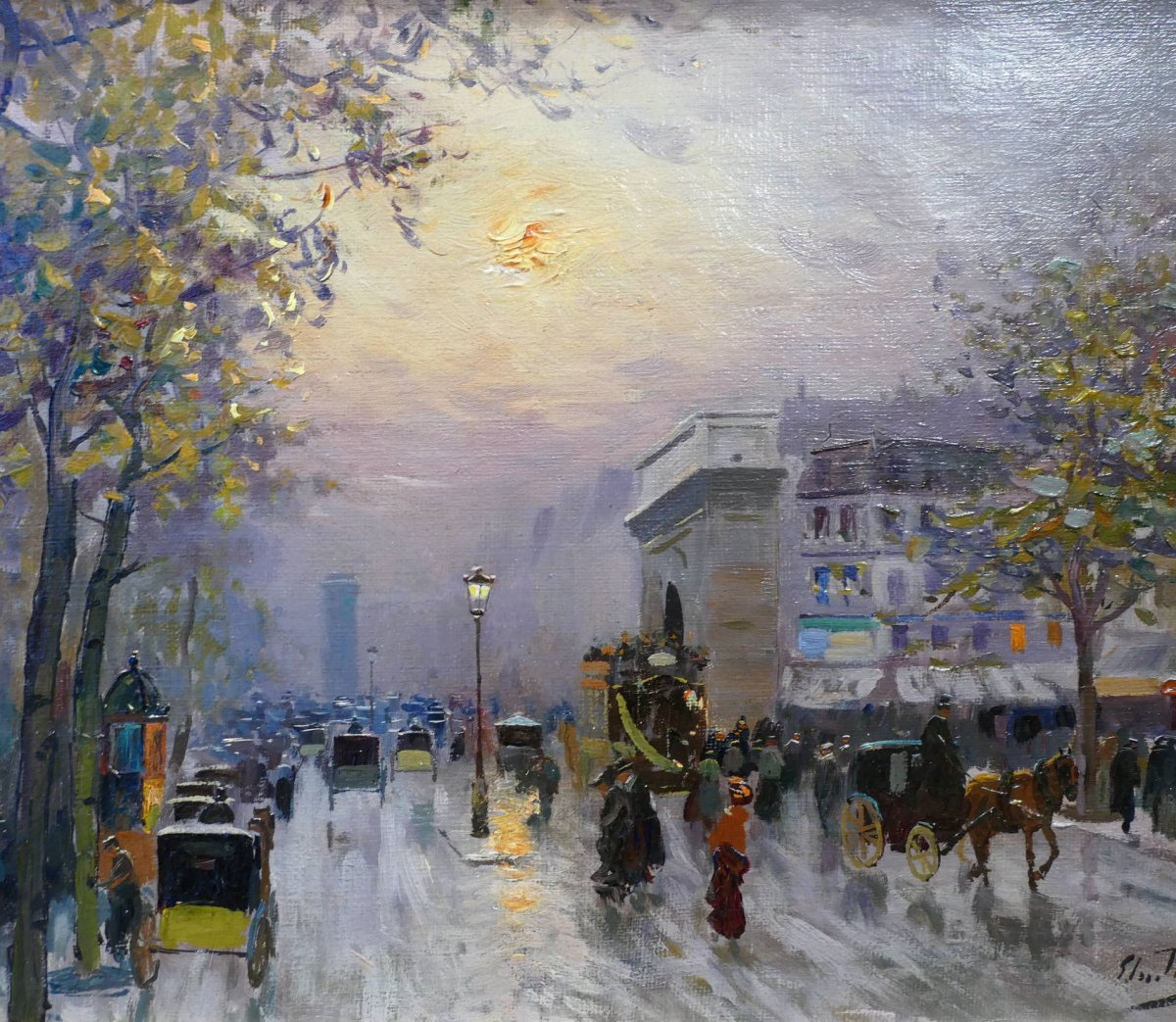 Pavil Elie Anatole Painting View Of Paris The Grands Boulevards Oil On Canvas Signed-photo-4