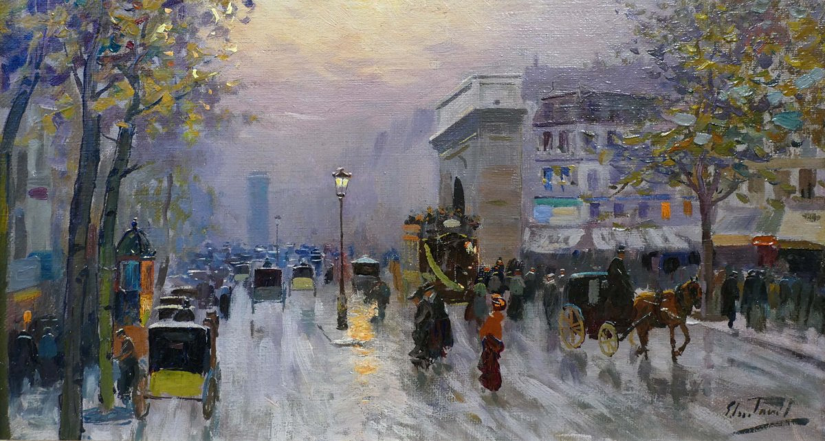 Pavil Elie Anatole Painting View Of Paris The Grands Boulevards Oil On Canvas Signed-photo-5