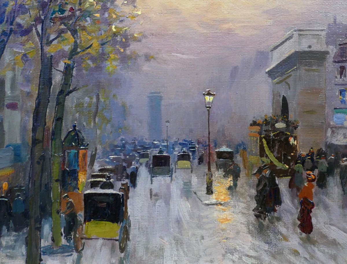 Pavil Elie Anatole Painting View Of Paris The Grands Boulevards Oil On Canvas Signed-photo-6