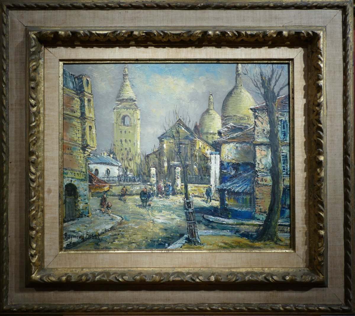 Besse Raymond French Painting 20th Paris Montmartre La Place Du Tertre Oil On Canvas Signed