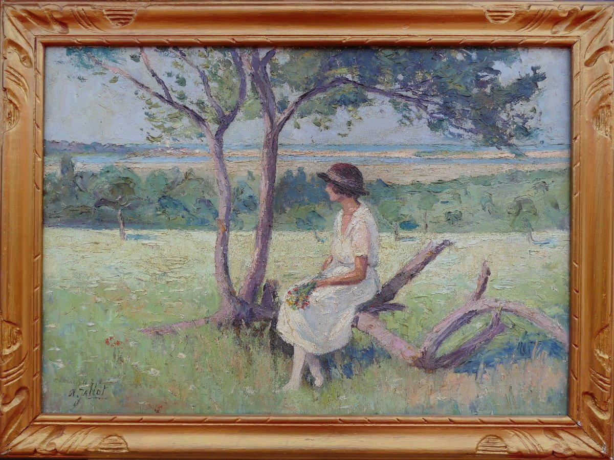 Pierre Dumont (jallot) Painting 20th Young Woman Sitting Oil On Canvas Signed-photo-2
