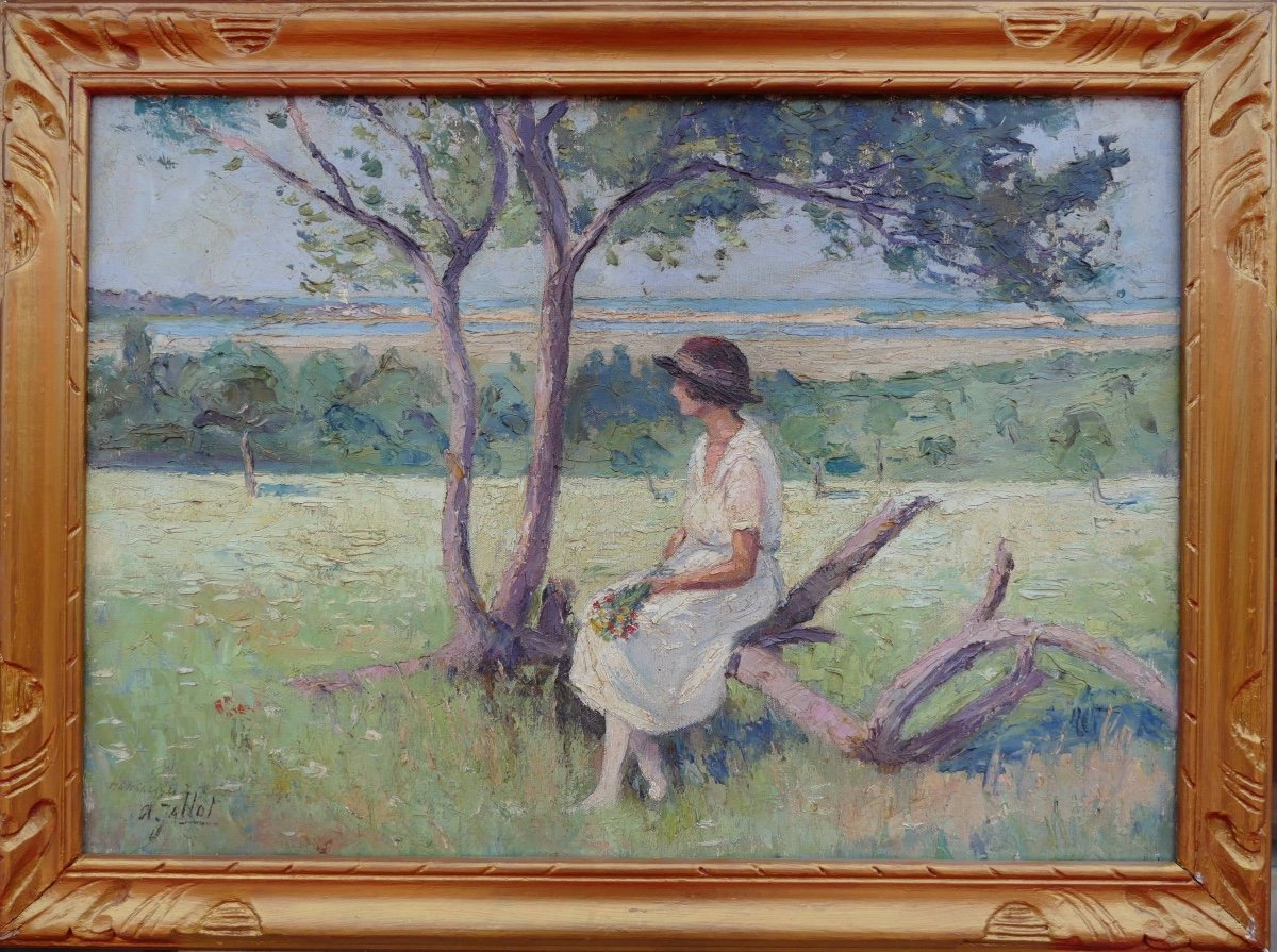 Pierre Dumont (jallot) Painting 20th Young Woman Sitting Oil On Canvas Signed