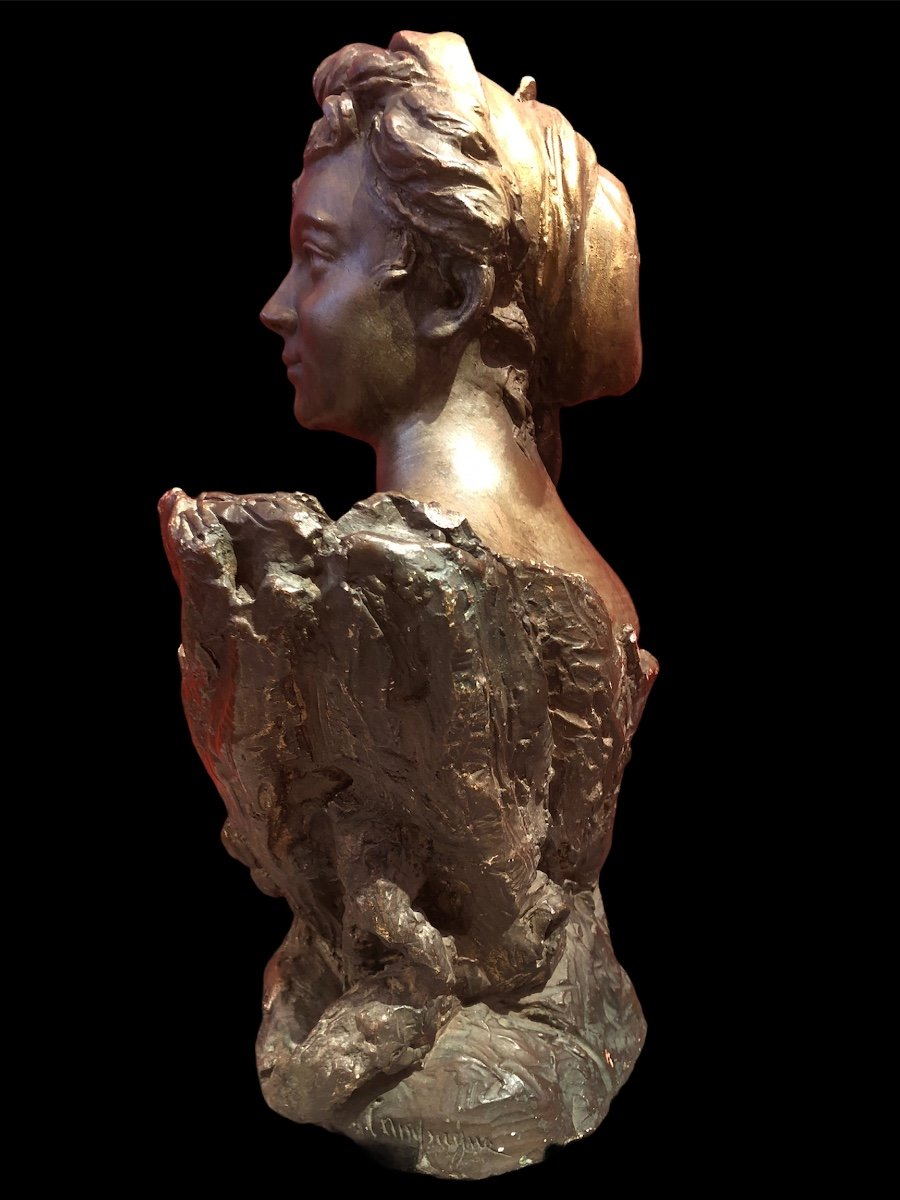 Bust Of Woman By Pierre Campagne Sculpture 19th-photo-4