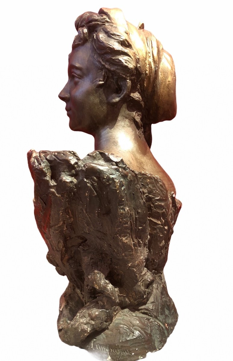 Bust Of Woman By Pierre Campagne Sculpture 19th-photo-1