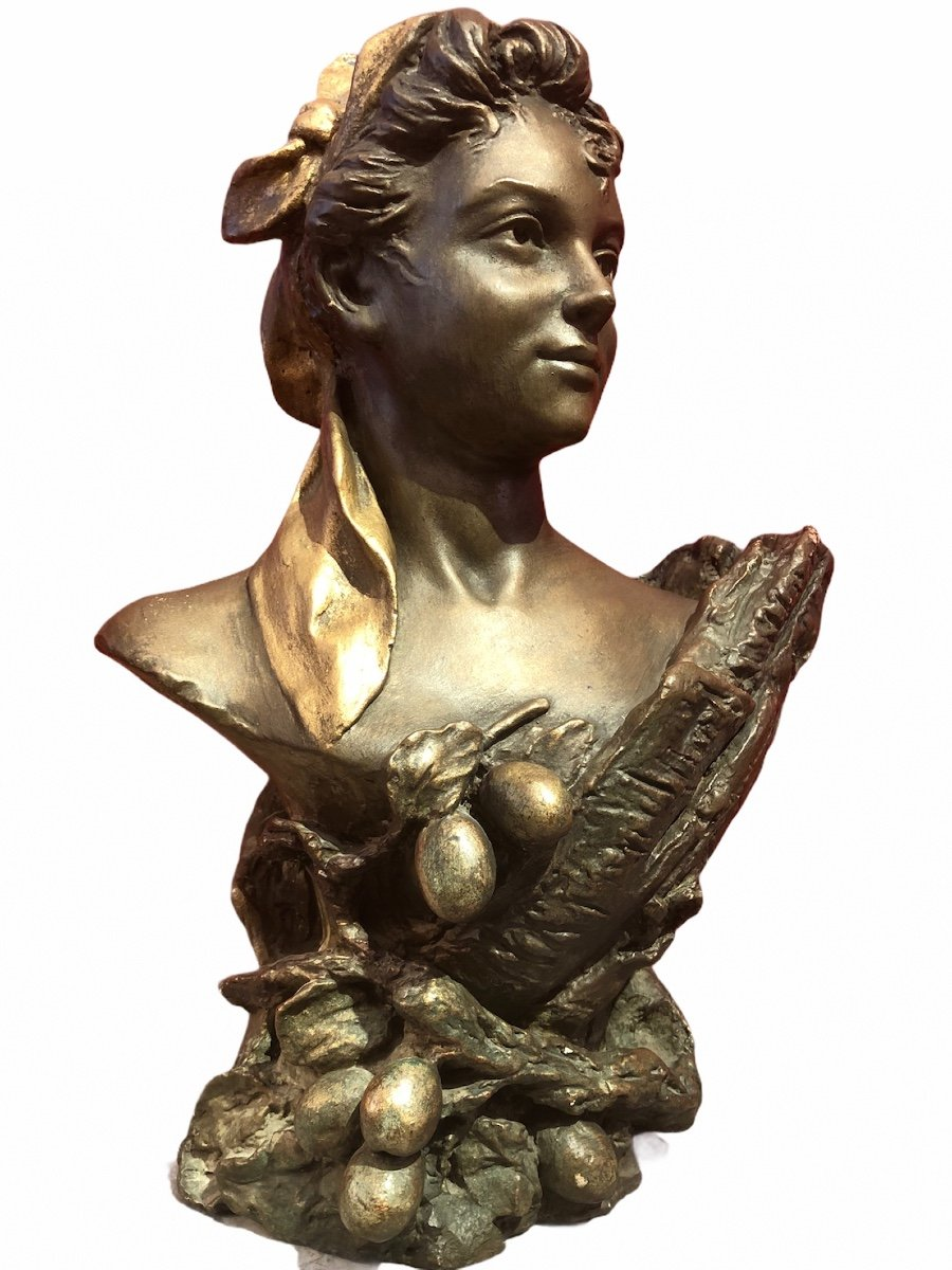 Bust Of Woman By Pierre Campagne Sculpture 19th-photo-3
