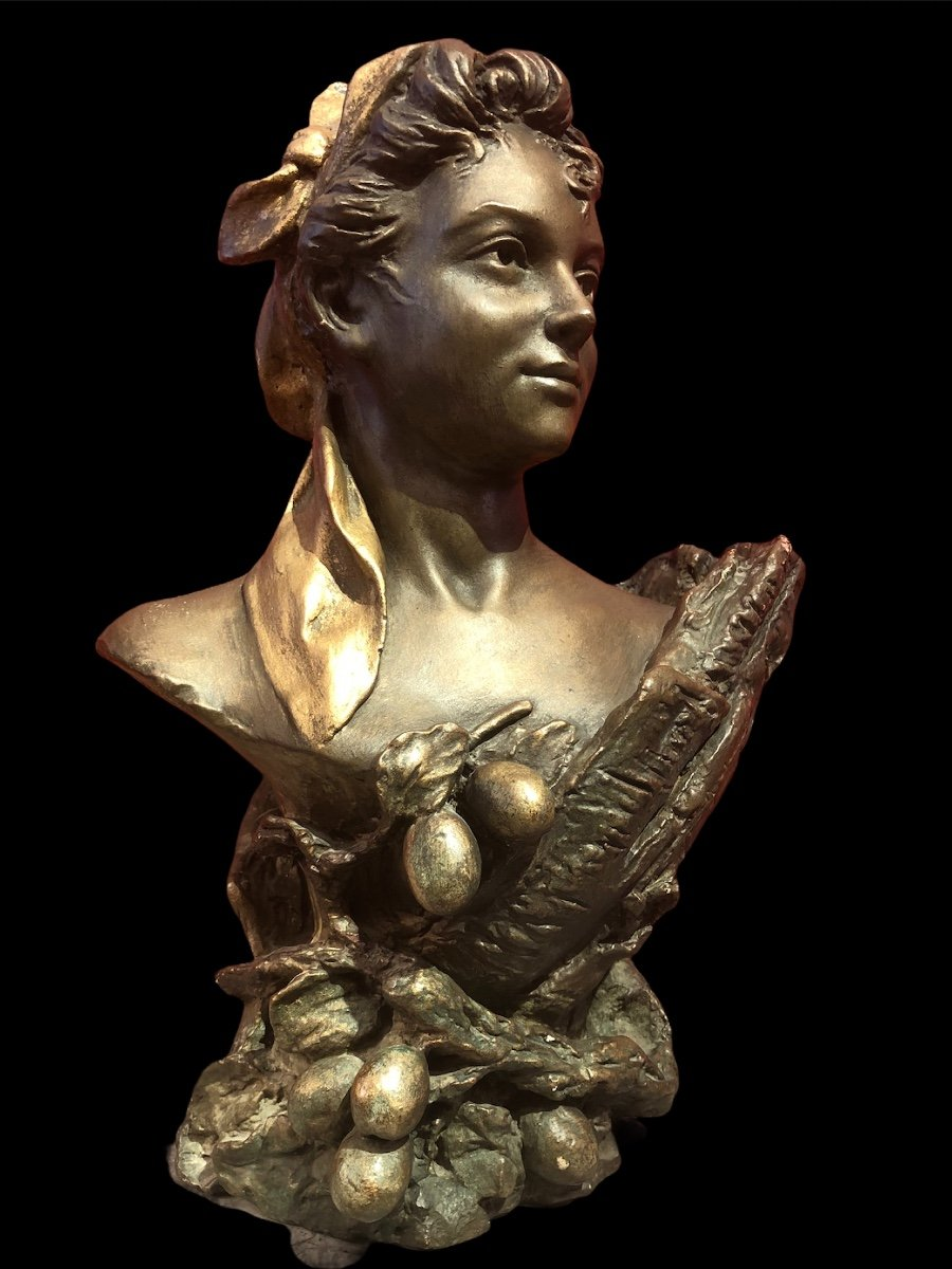Bust Of Woman By Pierre Campagne Sculpture 19th