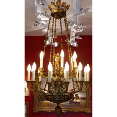 Important Lustre Empire 18 Lumières En Bronze Ciselé Et Doré