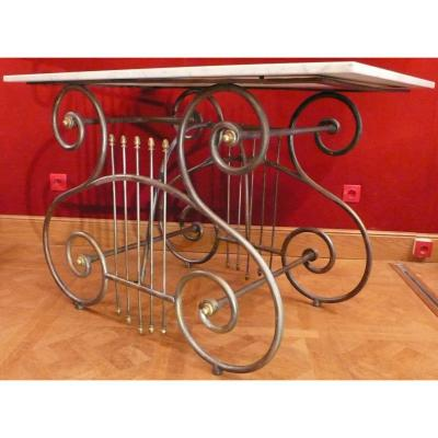 Antique Butcher Table From The End Of The 19th Century In Wrought Iron And Brass