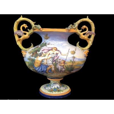 Grand Vase Ancien Italien Renaissance Style Nivernais Epoque Fin 19ème Siècle