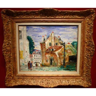 Genin Lucien Peinture 20ème Siècle Vue De Paris Montmartre Maison De Mimi Pinson Huile Signée