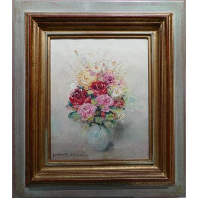 Hervé Jules René Peinture 20è Siècle Bouquet De Fleurs Huile Sur Toile Signée