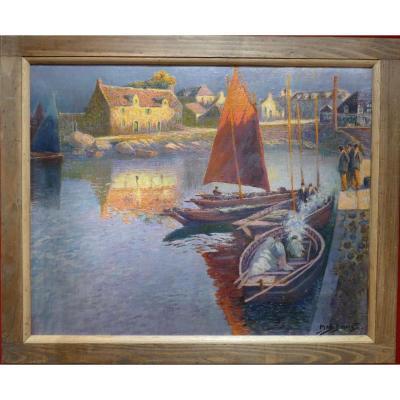 Max Bouvet Peinture Française Marine 20ème Siècle Petit Port Breton Huile Sur Panneau Signée