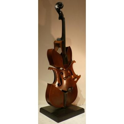 Arman Bronze Sculpture 20th Century Signed Violin Coupe II Tribute To Picasso Modern Art