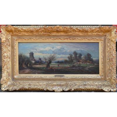 Dupre Leon Victor Painting 19th Barbizon School Campaign In Ile De France Oil Signed