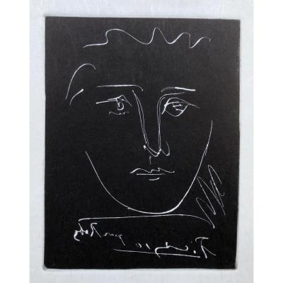 Picasso Pablo ( d'Après ) Face For Roby Black Engraving Signed