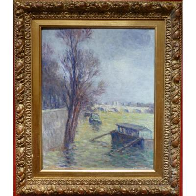 Luce Maximilien Post-impressionist Painting 20th Century Paris, Floods Near Pont Neuf 1910 Oil