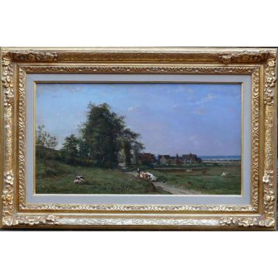 Guillemer Ernest Peinture Française XIXèecole De Barbizon Troupeau Sur Le Chemin Huile Signée