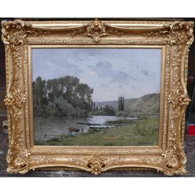 Foubert Emile Peinture Française 19è Siècle Ecole Barbizon La Seine à Vetheuil Huile Signée