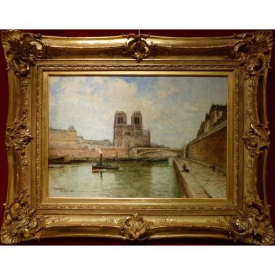 Frank Boggs Ecole Américaine 19è Paris Notre Dame Et La Seine Huile Sur Toile Signée Datée Situ