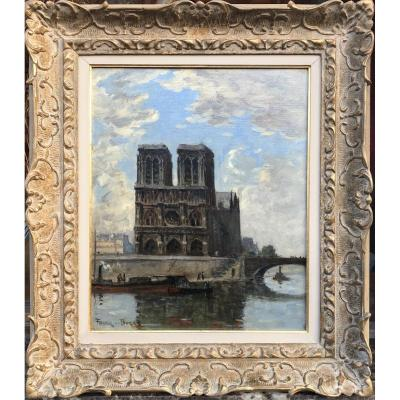 Frank Boggs American School Paris Notre Dame And The Seine Oil On Canvas Signed