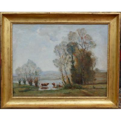 Japy Louis Aimé French Painting 19th Century Barbizon School Oil On Canvas Signed