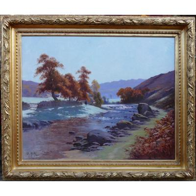 Halle Charles Painting Landscape 20th Century Crozant School Creuse Landscape Oil Canvas Signed