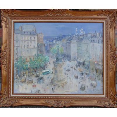 Bertin Roger Ecole Française 20è Siècle Paris La Place De Clichy Huile Sur Toile Signée