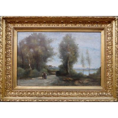 De Villers Adolphe French School Walk Along The River Oil On Canvas Signed