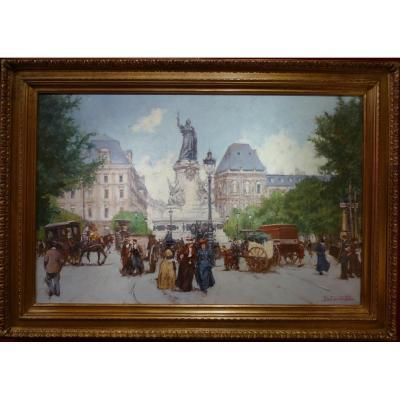 Leon Zeytline Russian School 20th Paris Place De La République Boulevard Du Temple Oil Signed