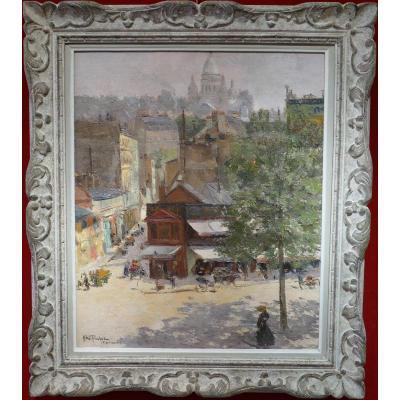 Abel Truchet Louis French Painting Belle Epoque Paris View Of Montmartre Oil Canvas Signed